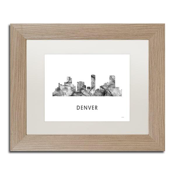 Marlene Watson 'Denver Colorado Skyline WB-BW' Matted Framed Art