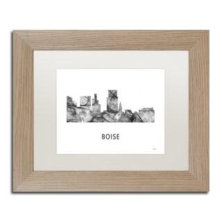 Marlene Watson 'Boise Idaho Skyline WB-BW' Matted Framed Art
