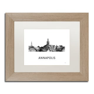 Marlene Watson 'Annapolis Maryland Skyline WB-BW' Matted Framed Art