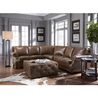 Lazzaro Leather Prato Cocoa BromptonLSF 2-Piece Sectional Sofa