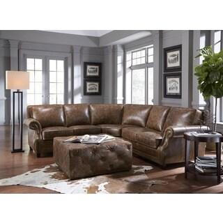 Lazzaro Leather Prato Cocoa Brompton 2 Piece Sectional Sofa