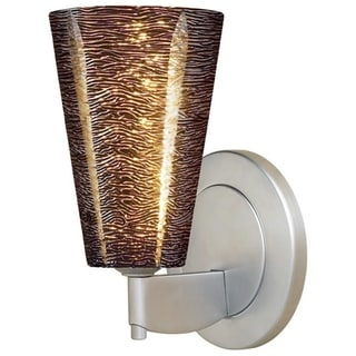 Bruck Lighting Bling 2 Low Voltage Matte Chrome Wall Sconce with Black Textured Glass Shade