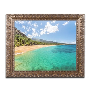 Pierre Leclerc 'Makena Beach Maui' Ornate Framed Art