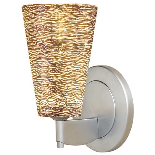 Bruck Lighting Bling 2 Matte Chrome Silver Textured Glass Shade Low-voltage Wall Sconce