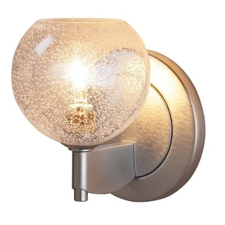 Bruck Lighting Bobo 1Clear Bubble Glass Shade Low Voltage Matte Chrome Wall Sconce