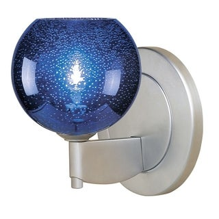 Bruck Lighting Bobo 1 Blue Bubble Glass and Matte Chrome Low Voltage Wall Sconce