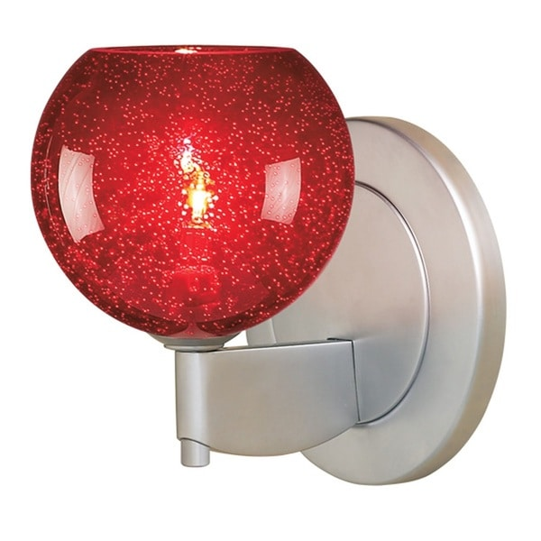 Bruck Lighting Bobo 1 Matte Chrome Red Bubble Glass Shade Low-voltage Wall Sconce