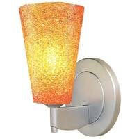 Bruck Lighting Bling 2 Matte Chrome LED Wall Sconce with Amber Glass Shade