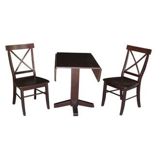"Set of 3 pcs - 36"" Square Dual Drop Leaf Table with 2 X-back chairs"