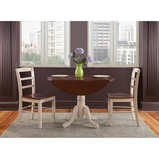 "Set of 3 pcs - 42"" Dual Drop Leaf Table with 2 Madrid chairs"