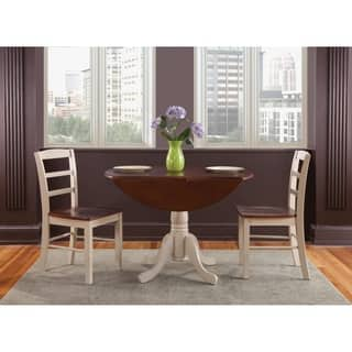set of 3 pcs 42 dual drop leaf table with 2 madrid chairs - Dining Room Set For 2