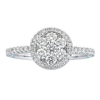 Anika and August 18K White Gold .70ct TDW Diamond Engagement Ring
