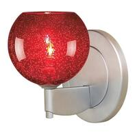 Bruck Lighting Bobo 1 Matte Chrome Red Glass Shade LED Wall Sconce