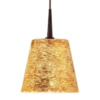 Bruck Lighting Bling 4-inch Canopy Bronze Pendant With Gold Glass Shade