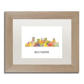 Marlene Watson 'Baltimore Maryland Skyline WB-1' Matted Framed Art