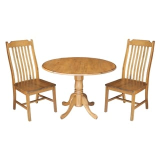 Set of 3 pcs; 42-inch Dual Drop Leaf Table with 2 steambent mission chairs