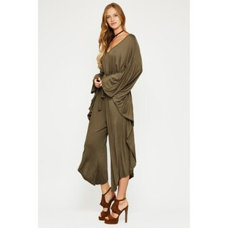 JED Women's Love USA Collection Raylon and Spandex Belted Oversized Jumpsuit