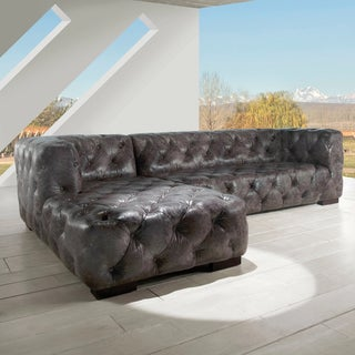 Lazzaro Leather Manhatton RSF Vintage Grey Sectional Sofa
