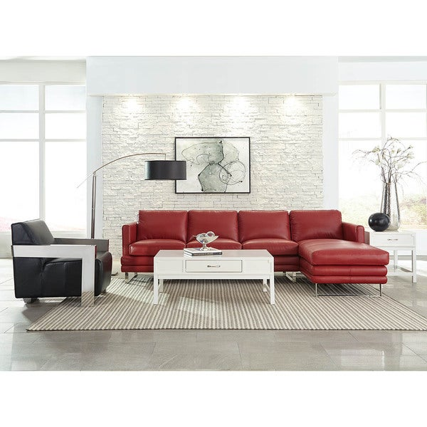 Milano Red Leather Sofa: Lazzaro Leather Melbourne Berry Red 2-Piece Sectional Sofa