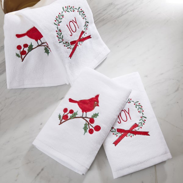 HipStyle Jingling Joy White Cotton Embroidered Hand Towel (set of 4)