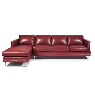 Lazzaro Leather Melbourne Berry Red LSF 2-Piece Sectional Sofa