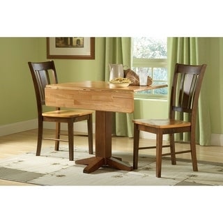 "Set of 3 pcs - 36"" Square Dual Drop Leaf Table with 2 Chairs"