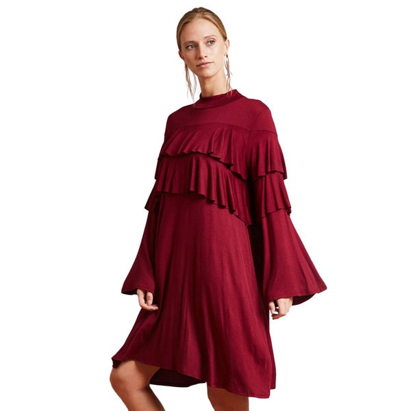 JED Women's Love USA Collection High Neck Ruffle Dress. Opens flyout.