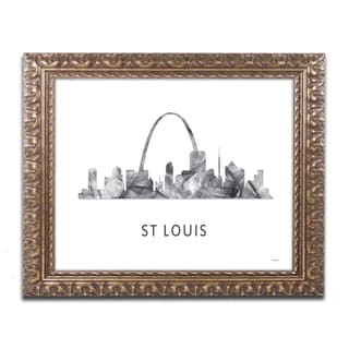 Marlene Watson 'St Louis Missouri Skyline WB-BW' Ornate Framed Art