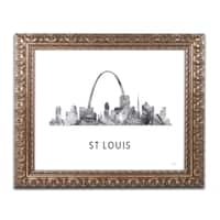 Marlene Watson 'St Louis Missouri Skyline WB-BW' Ornate Framed Art