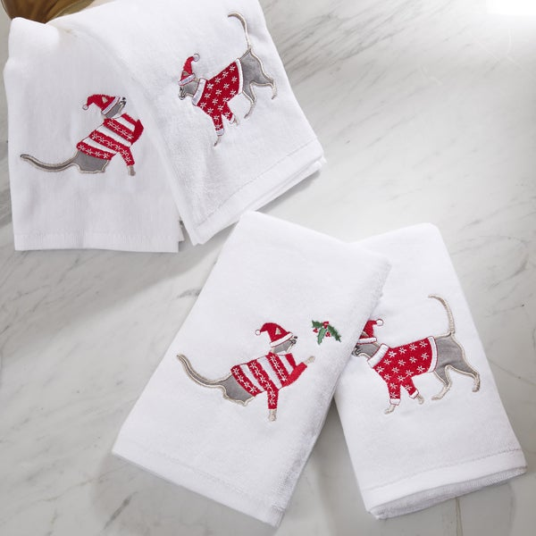 HipStyle Caroling Cat White Cotton Embroidered Hand Towel (set of 4)