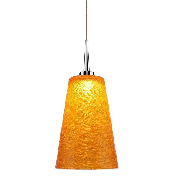 Shop Led 4 Inch Canopy Chrome Pendant Lamp With Amber Glass Shade