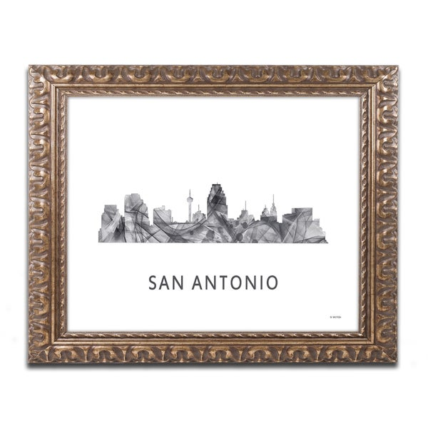 Marlene Watson 'San Antonio Texas Skyline WB-BW' Ornate Framed Art