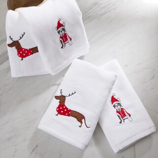HipStyle Dasher Dog White Cotton Embroidered Hand Towel (set of 4)