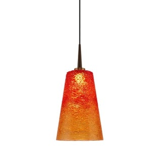 Bruck Lighting Orange Metal and Bling Glass LED 4-inch Pendant Light Fixture