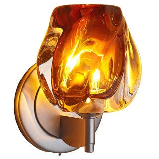Bruck Lighting Aurora Low Voltage Matte Chrome Wall Sconce with Amber Glass Shade