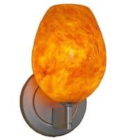 Bruck Lighting Bolero Matte Chrome LED Wall Sconce with Amber Glass Shade