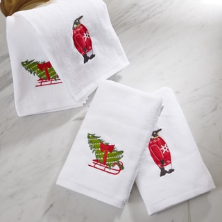 HipStyle Tree Tidings White Cotton Embroidered Hand Towel (set of 4)