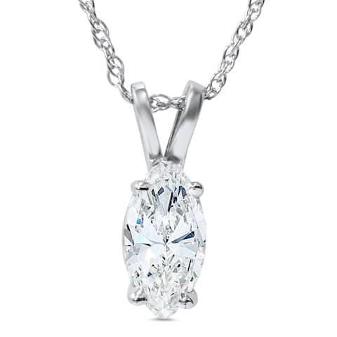 14k White Gold 1ct Fancy Marquise Diamond Clarity Enhanced Solitaire Pendant - White I-J