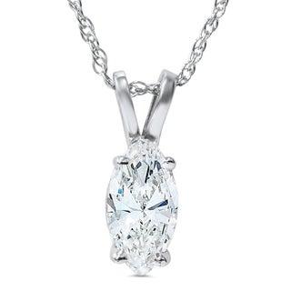 14k White Gold 1ct Fancy Marquise Diamond Clarity Enhanced Solitaire Pendant (I-J, I2,I3)