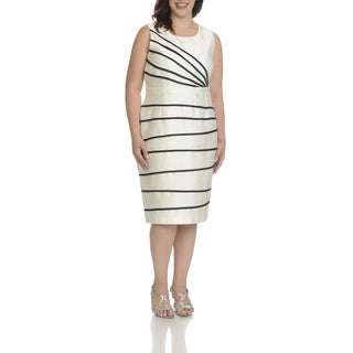 Ella Belle Women's Ivory/Silver Polyester/Spandex Plus-size Irregular Stripe 2-piece Bolero Jacket Dress Set