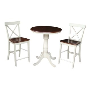 Set of 3 pcs - 30-inch round pedestal gathering height table with 2 X-back counter height stools
