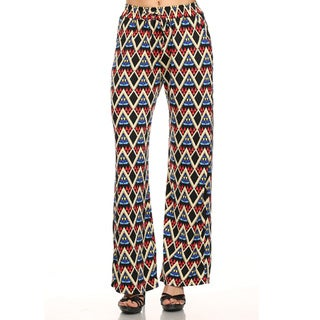 Women's Multicolored Polyester/Spandex Geometric 2-pocket Palazzo Pants