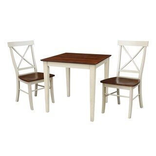 Set of 3 pcs - 30x30 dining table with 2 X-back chairs