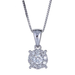 Anika and August 18k White Gold 1/5ct TDW Diamond Pendant (G-H, SI1-SI2)