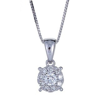 Anika and August 18k White Gold 1/5ct TDW Diamond Pendant