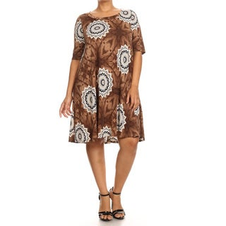Women's Brown Polyester Plus-size Abstract Print Dress