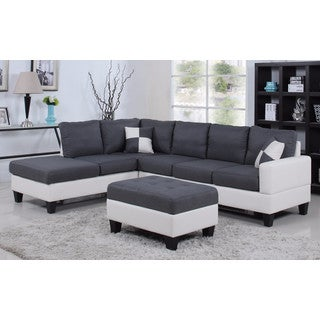 Classic Two-Tone Large Fabric & Bonded Leather Sectional Sofa