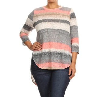 Women's Polyester and Spandex Plus Size Striped Tunic