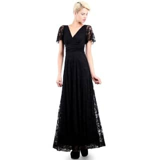 Evanese Women's Elegant Lace Evening Party Formal Long Dress Gown with Empire Waist Full Skirt and Short Sleeves|https://ak1.ostkcdn.com/images/products/12980719/P19728037.jpg?impolicy=medium