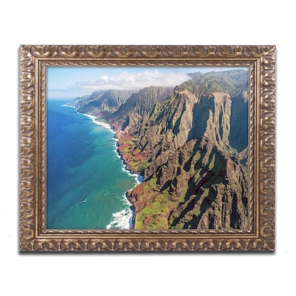 Pierre Leclerc 'Napali Coast' Ornate Framed Art